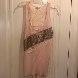 Light pink party tank top size small